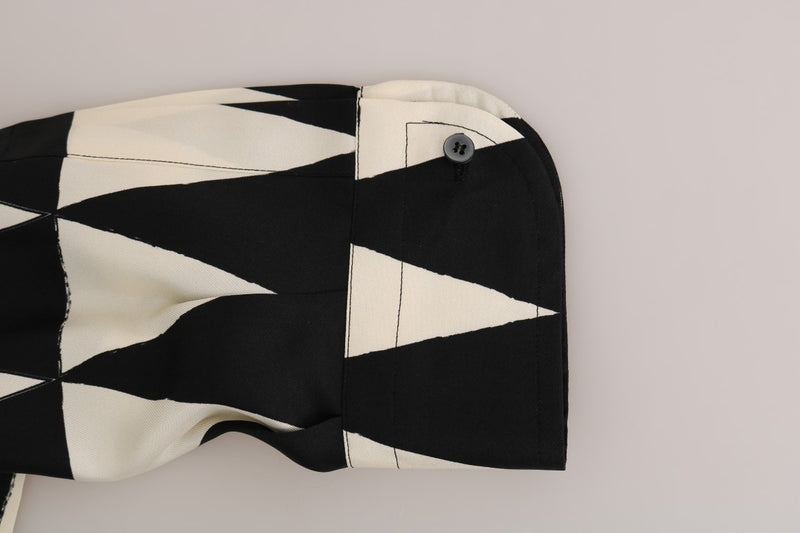 Black White Silk Triangle Shirt