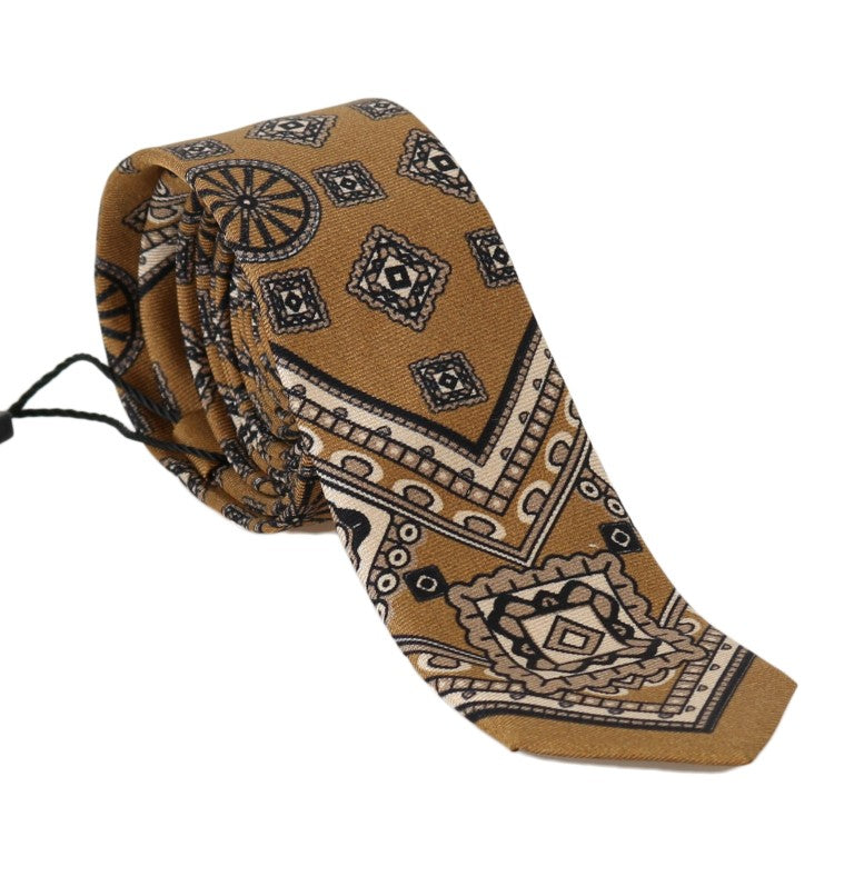 Yellow Silk Print Tie