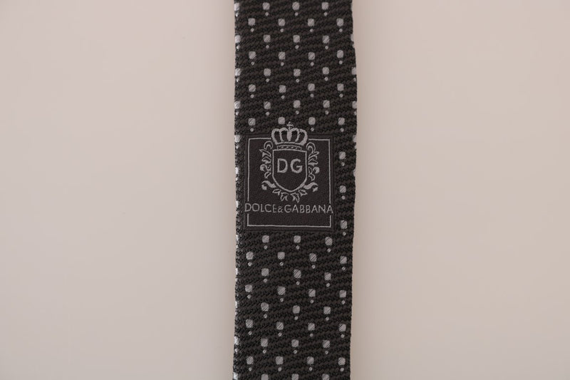 Gray Silk Woven Dotted Slim Tie