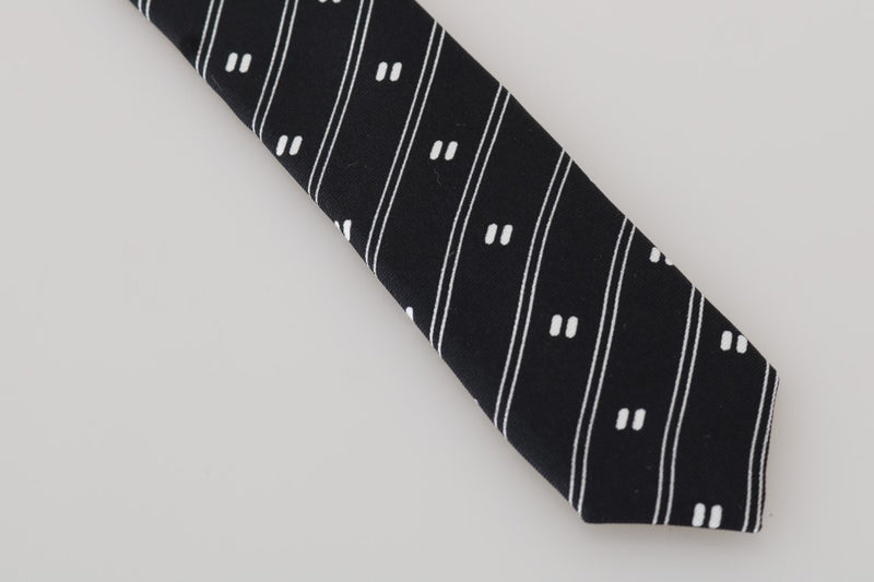 Black Silk White Striped Slim Tie