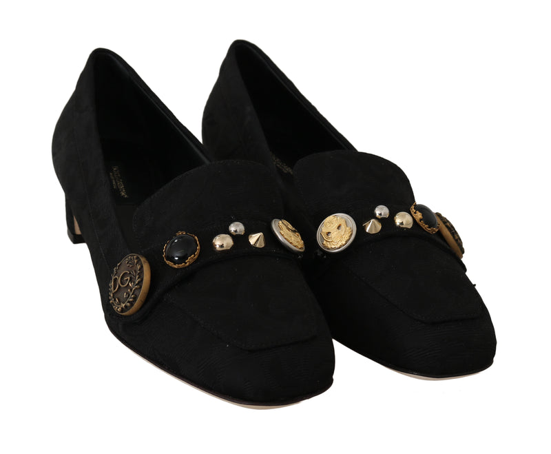 Black Brocade Ricamo Moccasin
