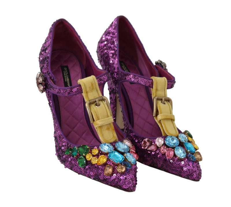 Purple Sequin Leather Crystal Sandal