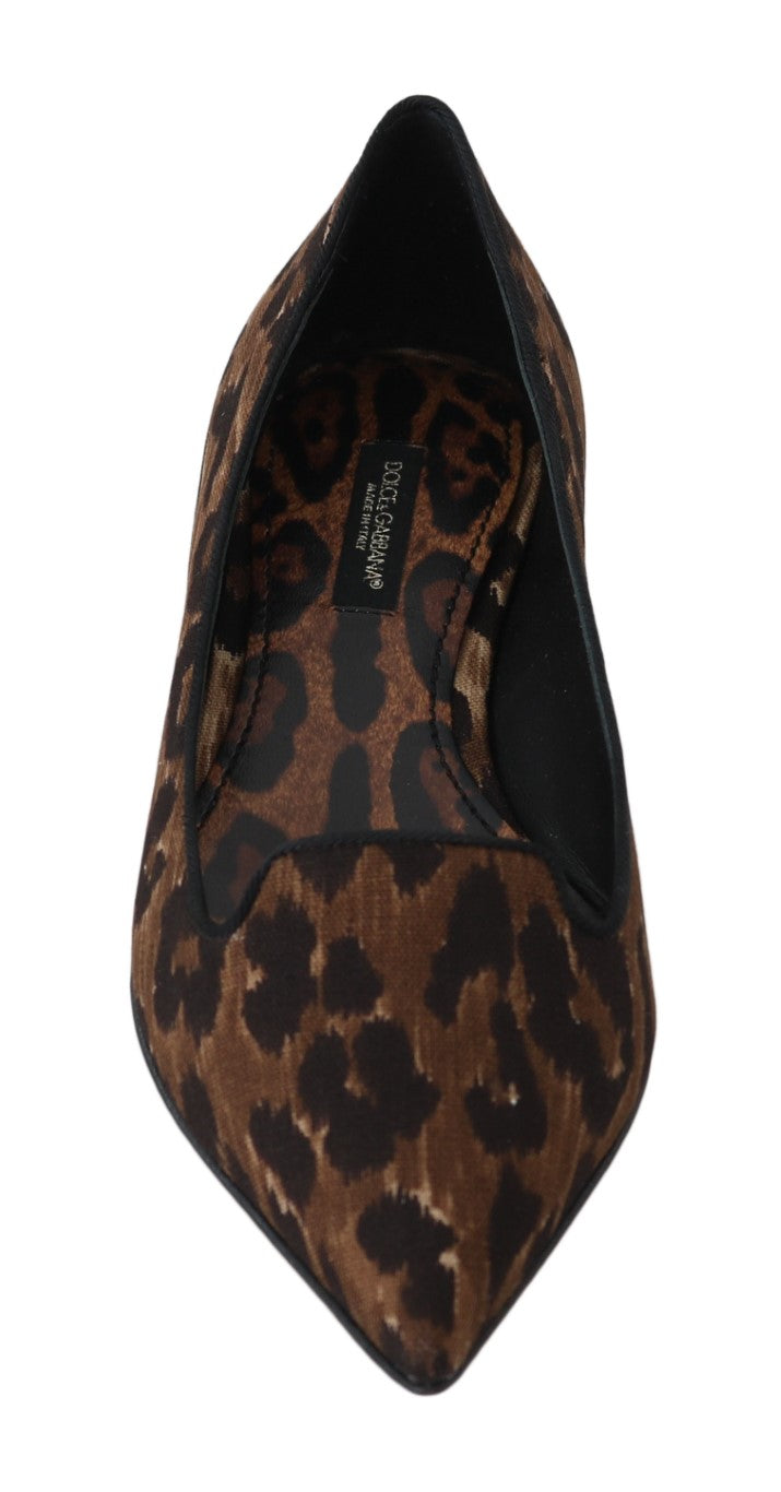 Brown Cotton Leopard Ballet Flats
