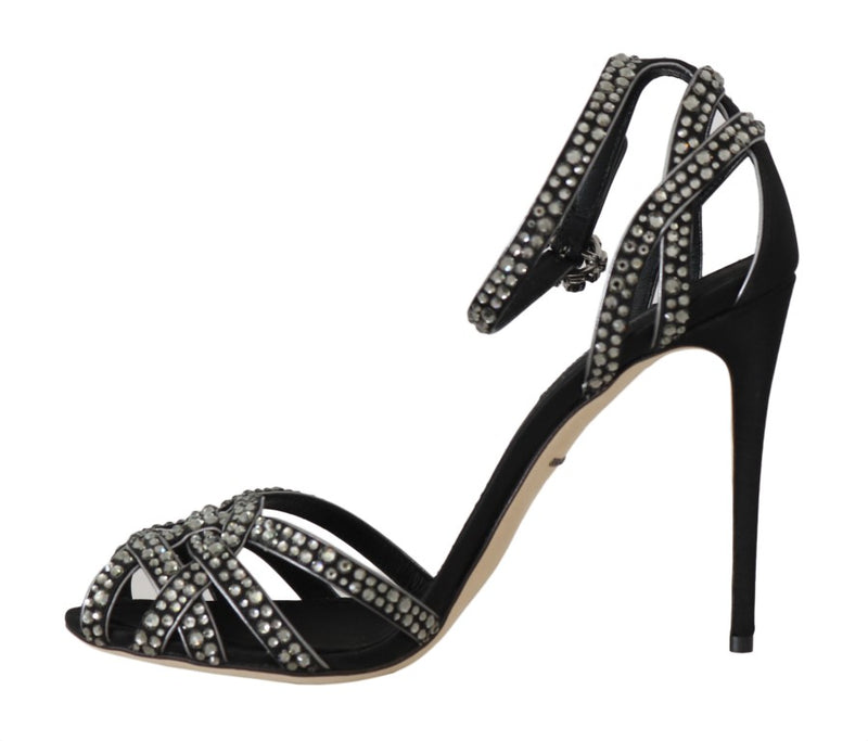Black Leather Crystal Stilettos