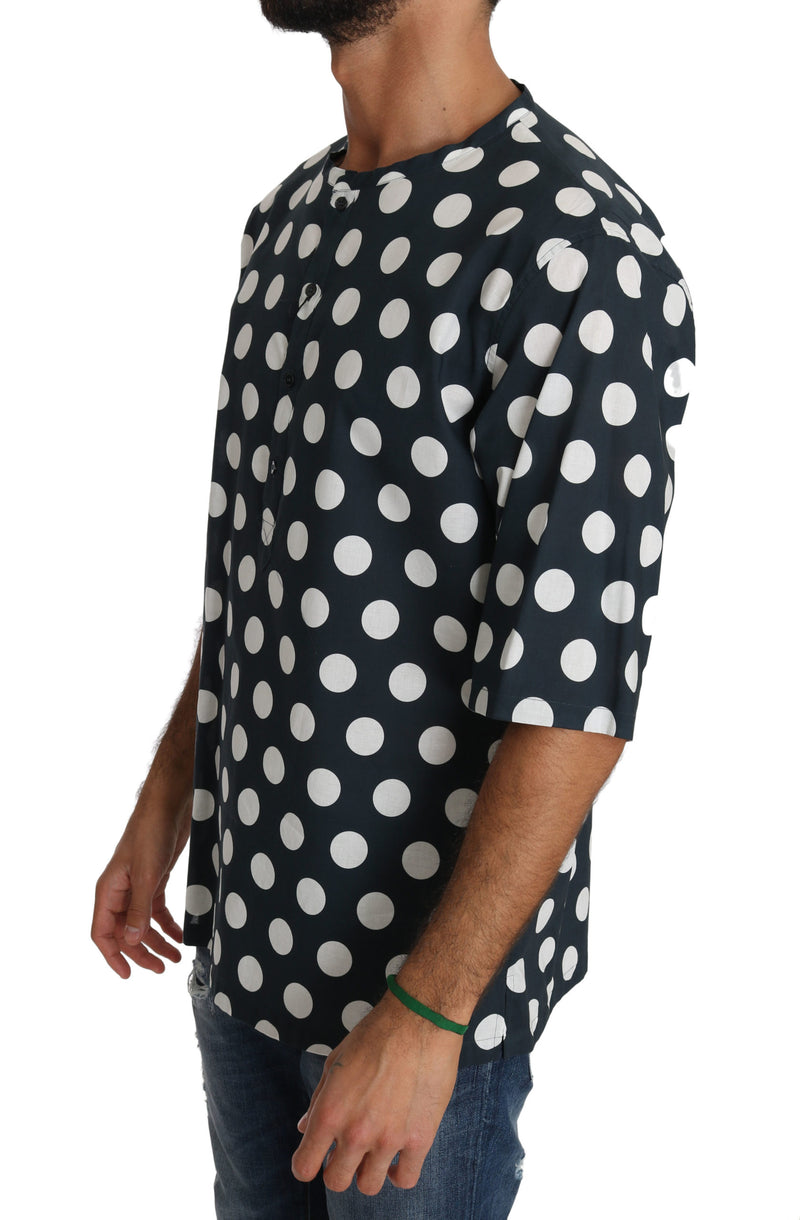 Blue Cotton Polka Dot Henley T-shirt