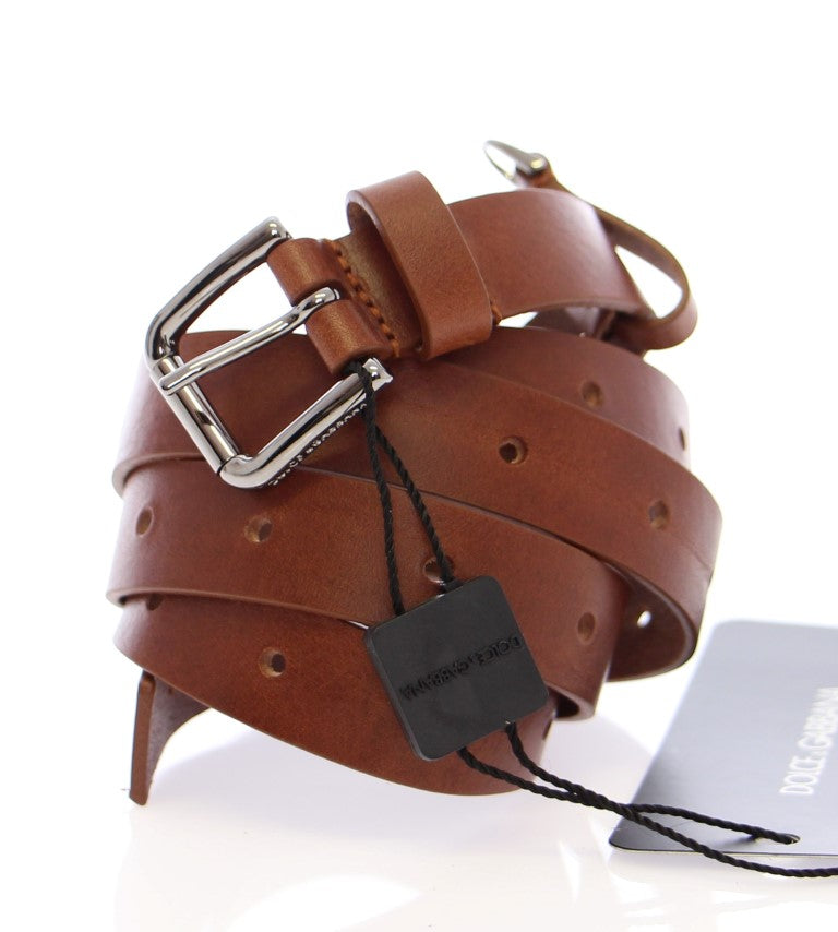 Brown Leather Silver Logo Belt