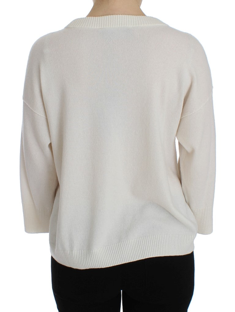 White Cashmere Floral Pearl Sweater