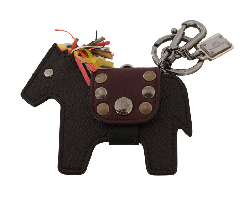 Brown Horse Pony Studded Keyring Leather Keychain