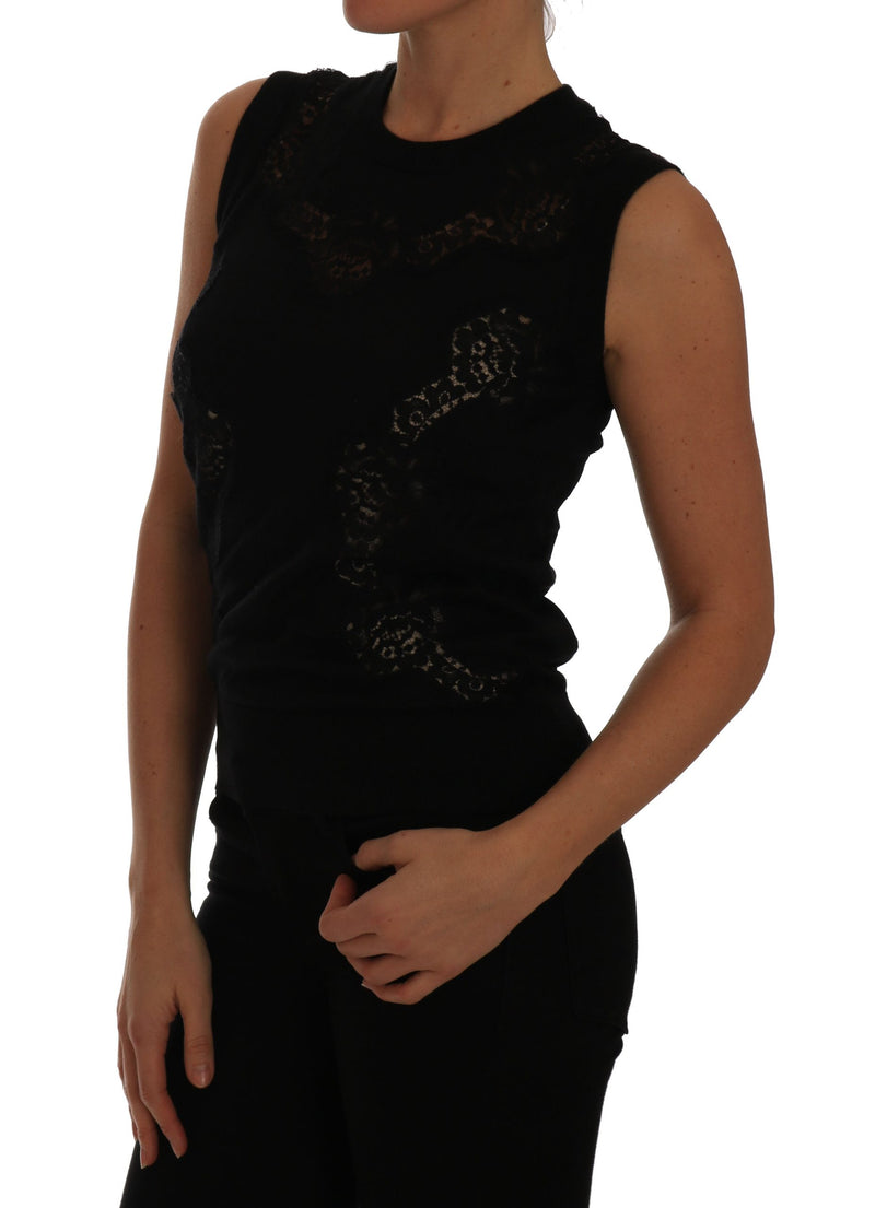 Black Silk Knit Top Lace Inset Floral Cashmere  top