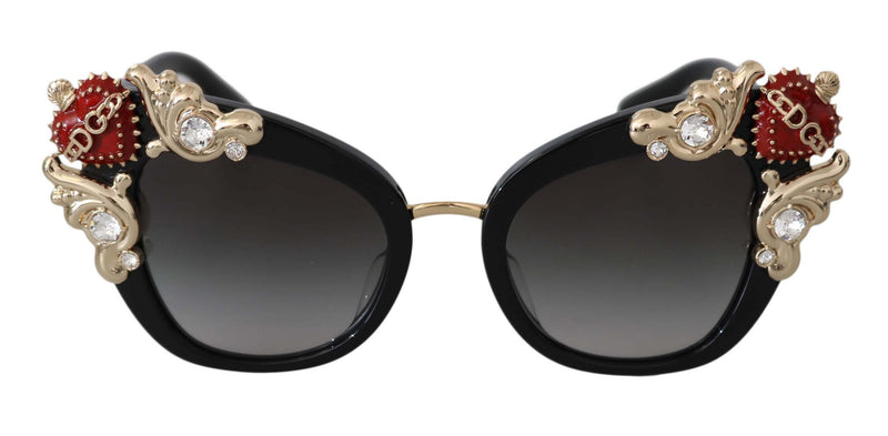 Black DG4319 Red Sacred Heart Gold Crystal Butterfly  Sunglasses