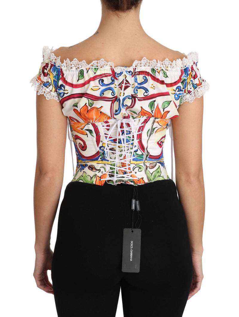 White Majolica Cropped Corset Top Blouse
