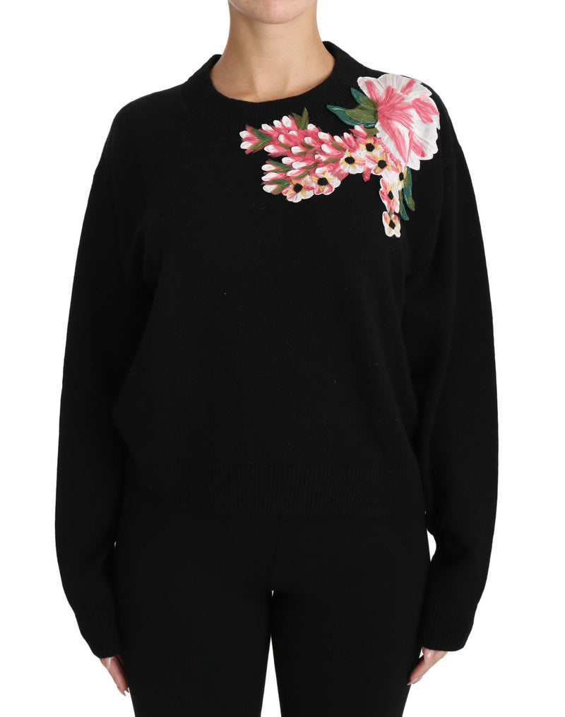 Black Cashmere Wool Floral Top Sweater