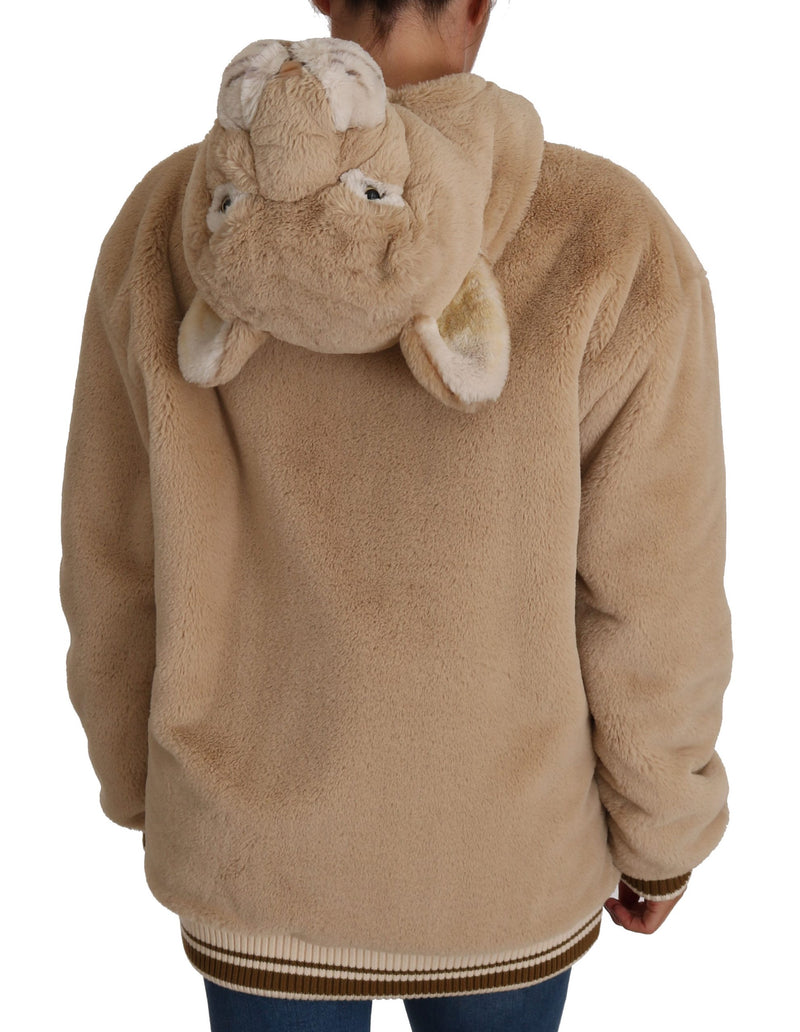 Beige Lion  Jacket Faux Fur Coat Hoodie Sweater