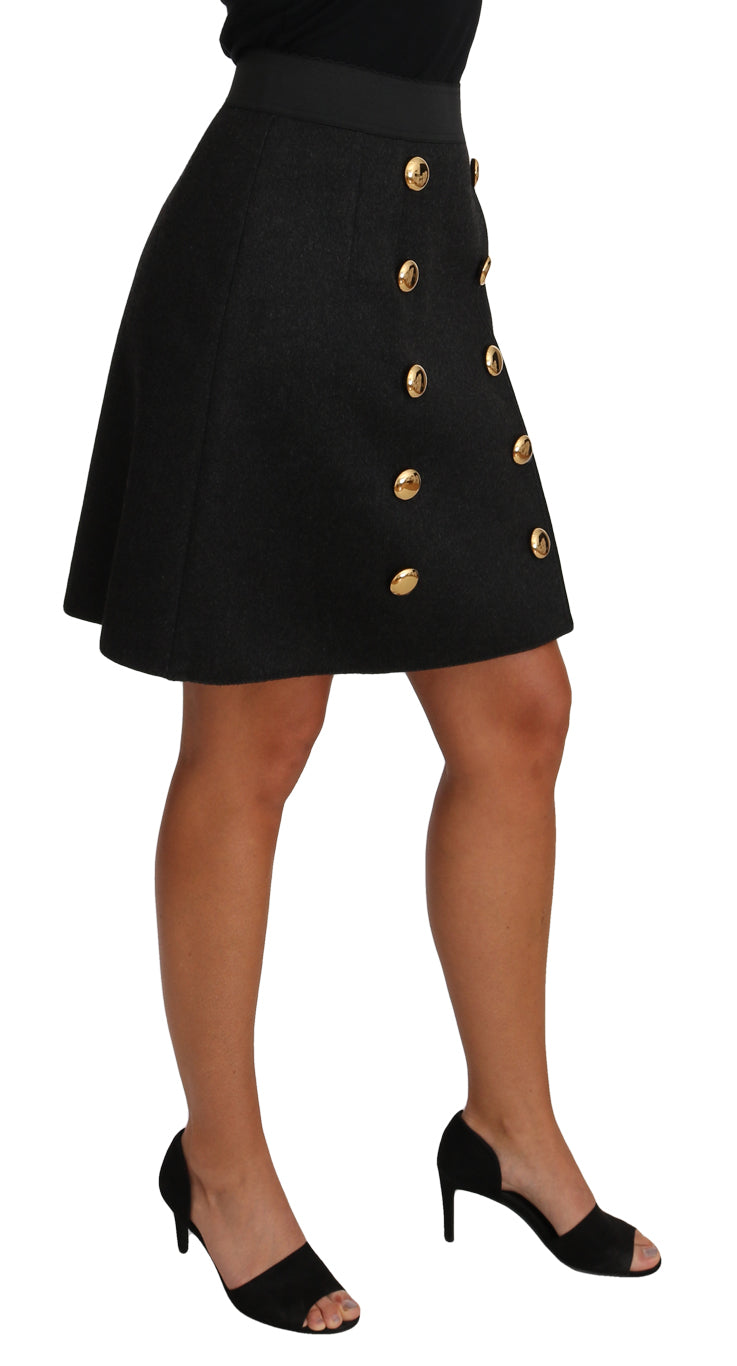 Straight Gold Gray Wool A-line Button Skirt