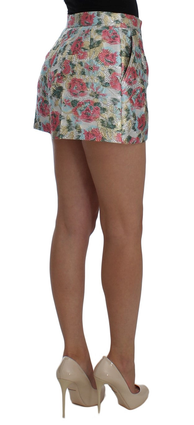 Multicolor Floral Brocade Shorts
