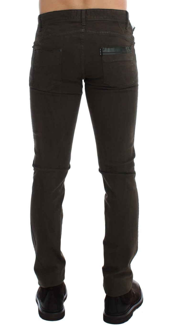 Green Slim Fit Cotton Stretch Denim Jeans