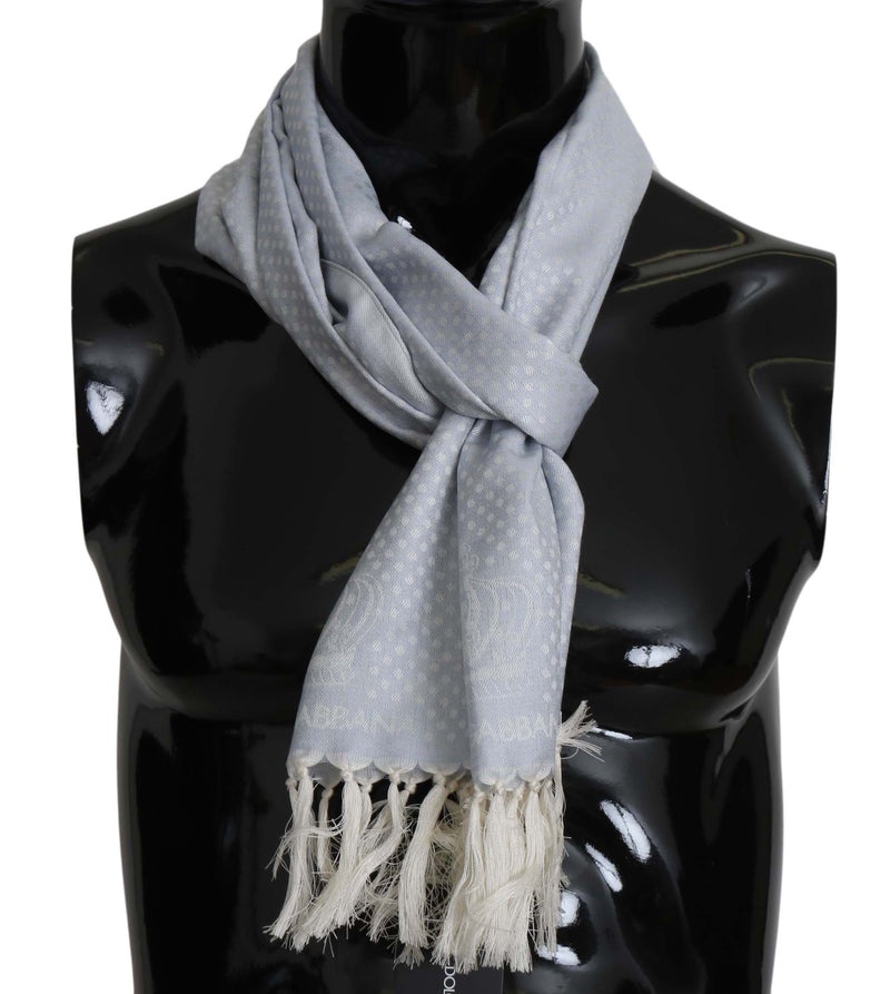 Blue Wool Silk Logo Fringes Wrap Scarf