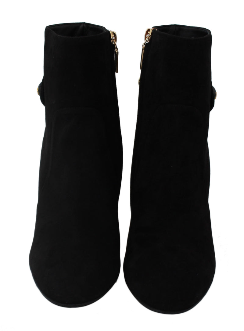 Black Suede Heel Ankle Boots Booties Shoes