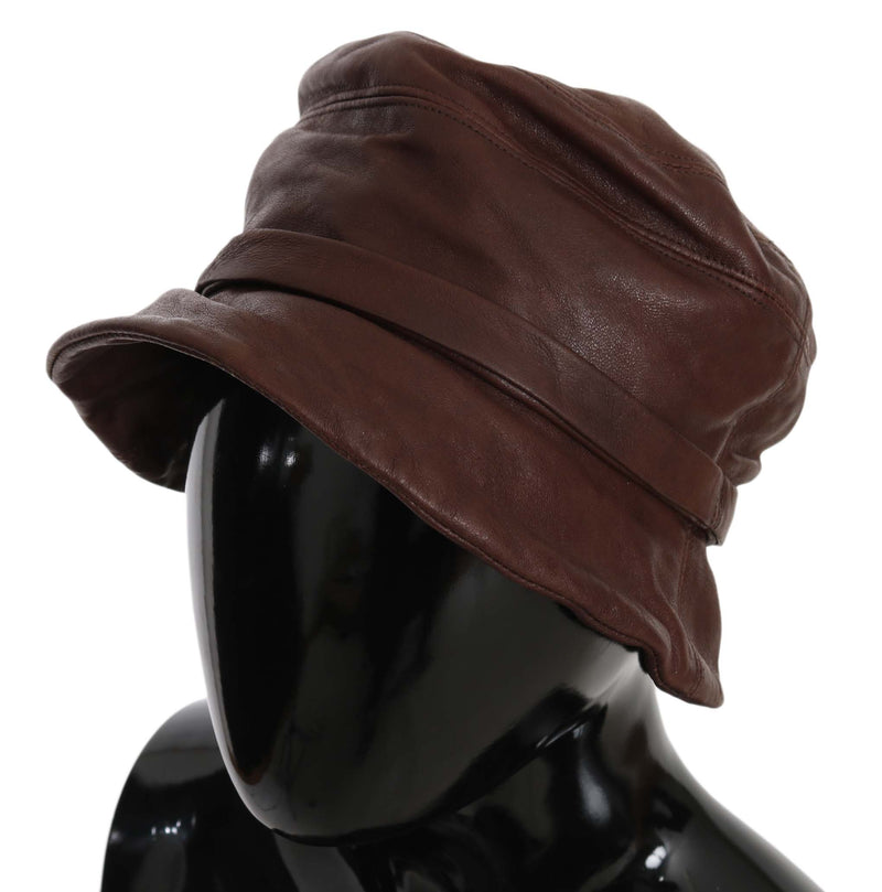 Plain Brown Sheep Leather Bucket Hat