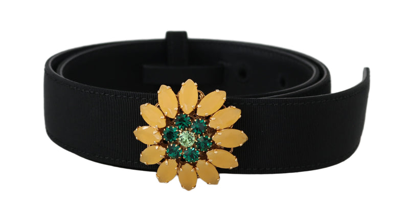 Black Crystal Flower Buckle Waist Belt