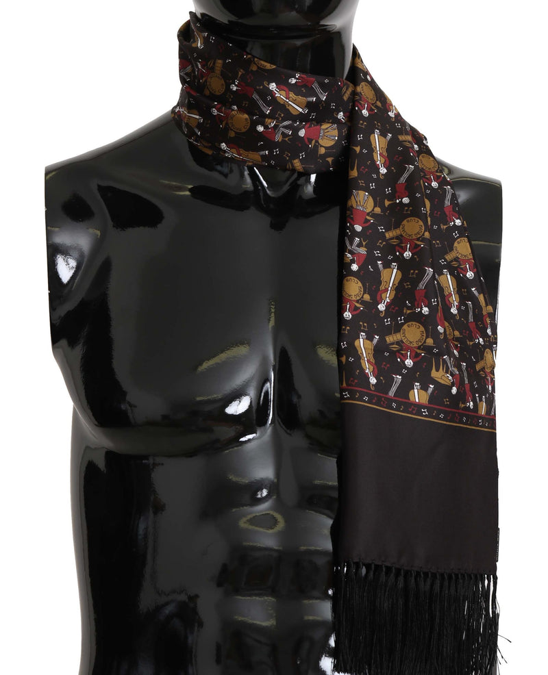 Brown Musicians Print Mens  Scarf