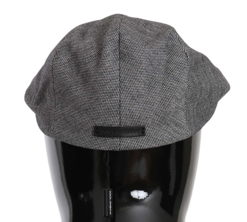 Gray Patterned Newsboy Stretch Cotton Hat
