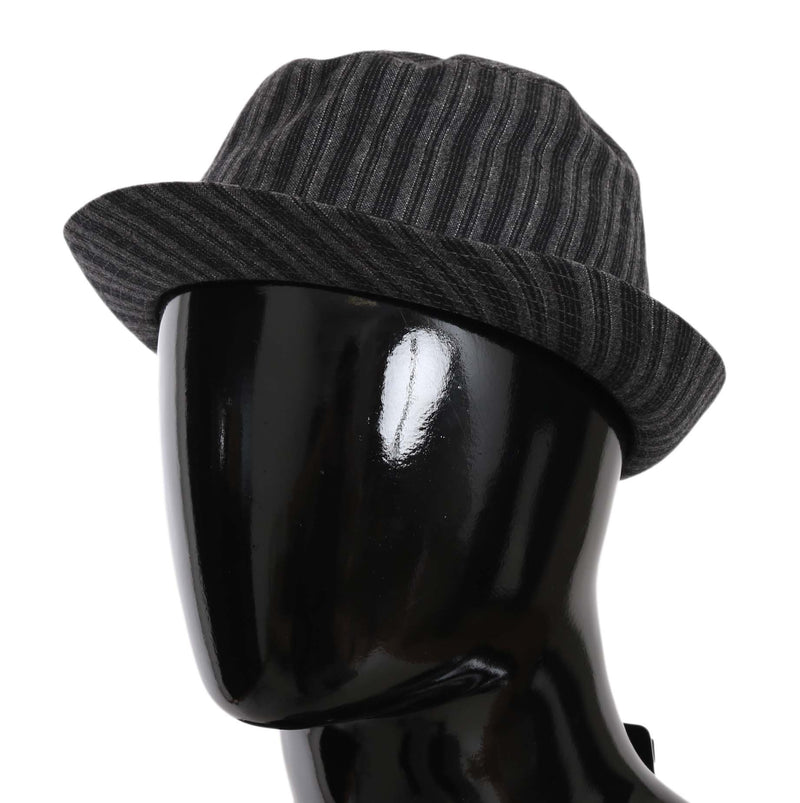 Gray Striped Wool Blend Fedora Trilby Hat