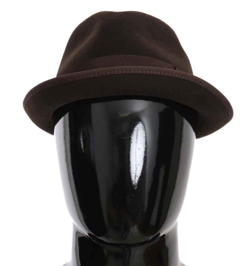 Brown Virgin Wool Fedora Trilby Cappello Hat