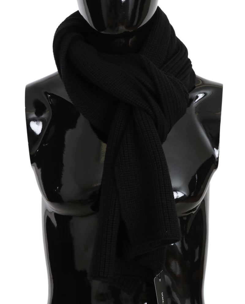 Black Wool Knit Mens Wrap Shawl Mens  Scarf