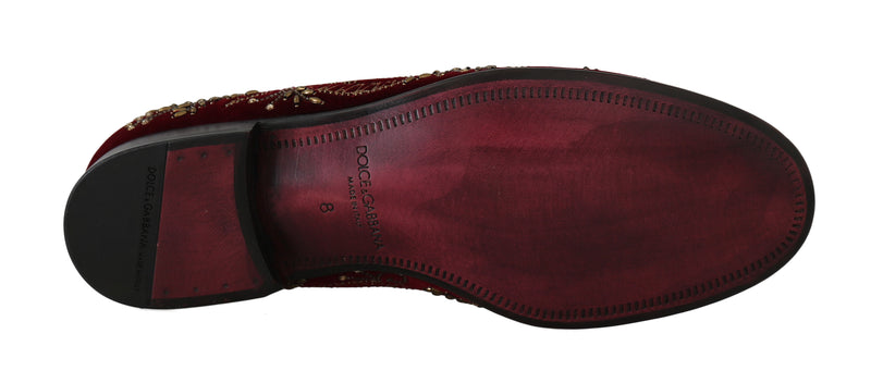 Red Velvet Crystal Sequined Loafers