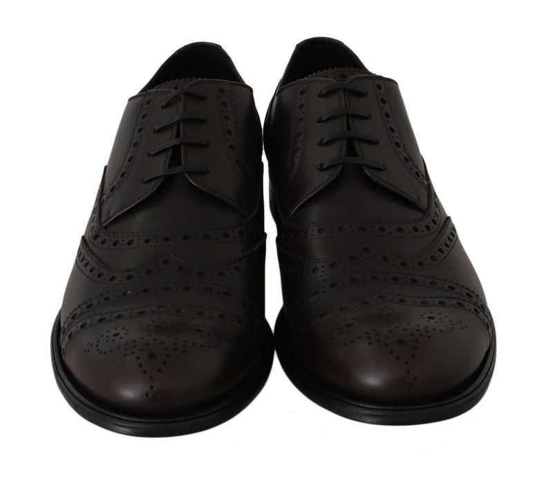 Brown Leather Wingtip Derby Formal Shoes