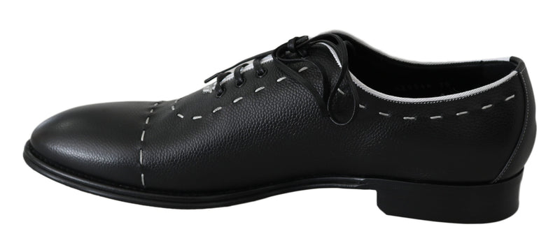Black Leather White Line Dress Derby Shoes