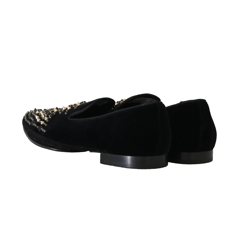 Black Velvet Suede Crystal Loafers