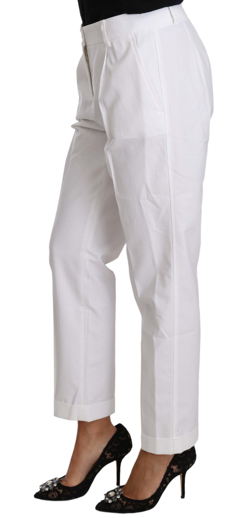 White Cotton Stretch Formal Trouser Pants