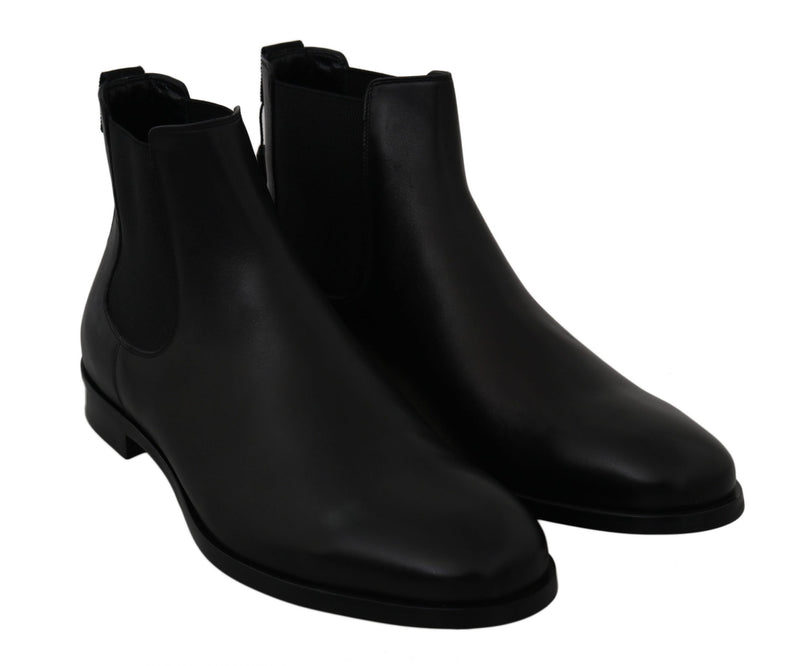 Black Leather Stretch Band Boots Derby Shoes