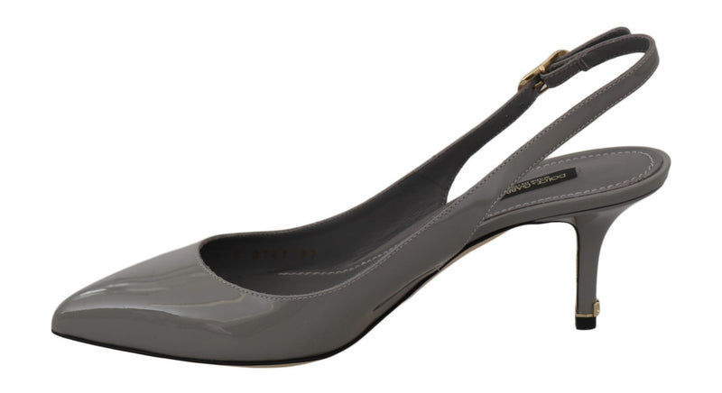 Gray Patent Leather Slingbacks  Shoes