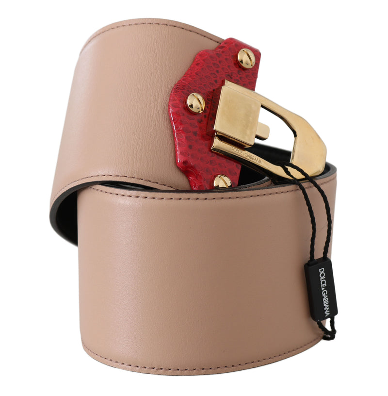 Beige Leather Gold Leather Buckle Belt