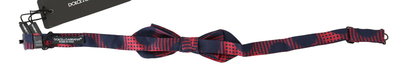 Red Checkered 100% Silk Adjustable Neck Bow Tie