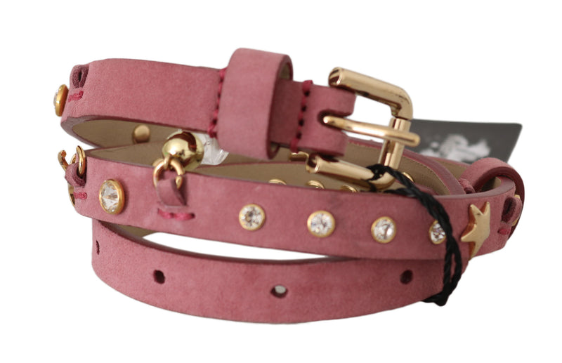 Pink Leather Crystals Studs Charms Belt