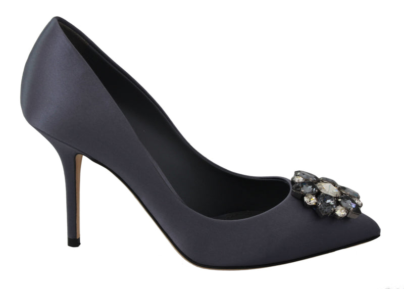 Purple Silk Crystal Heels Pumps Shoes