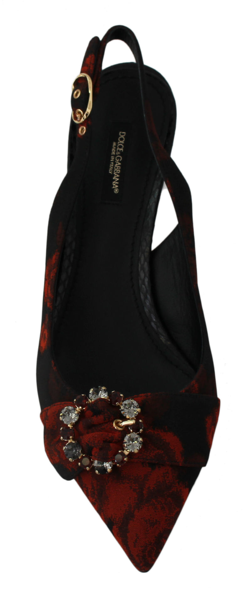 Red Roses Black Crystal Slingbacks Shoes