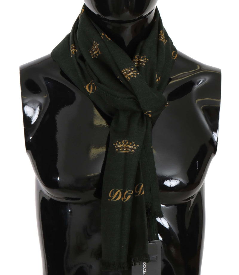 Green Silk Wool Crown Pattern Mens Wrap Scarf