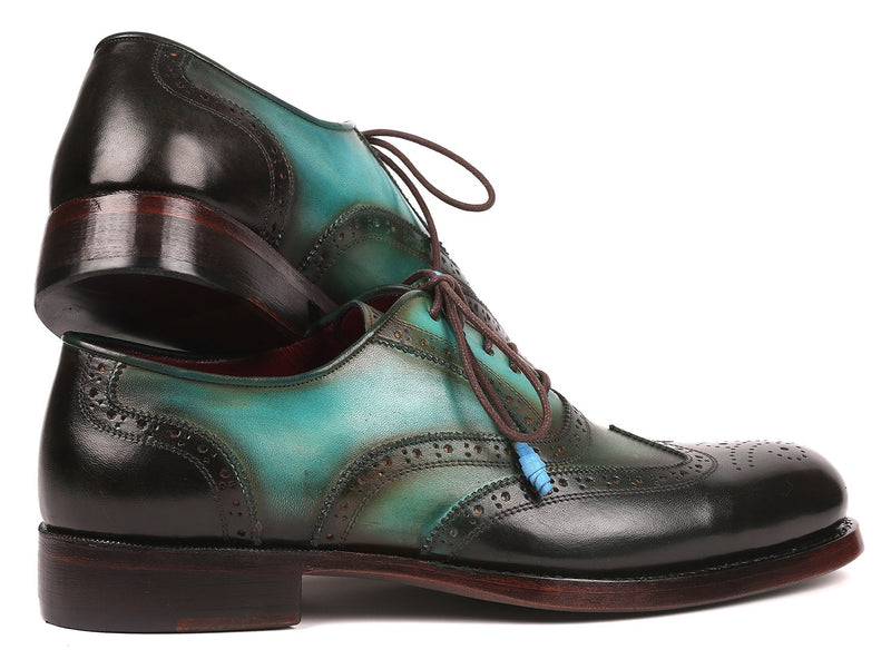 Paul Parkman Brown & Green Wingtip Oxfords Goodyear Welted
