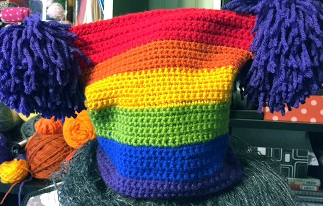 Double Pom Pom Hat crocheted by Sharpin Designs