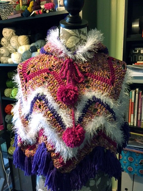 Owl Poncho crocheted by Sharpin Designs