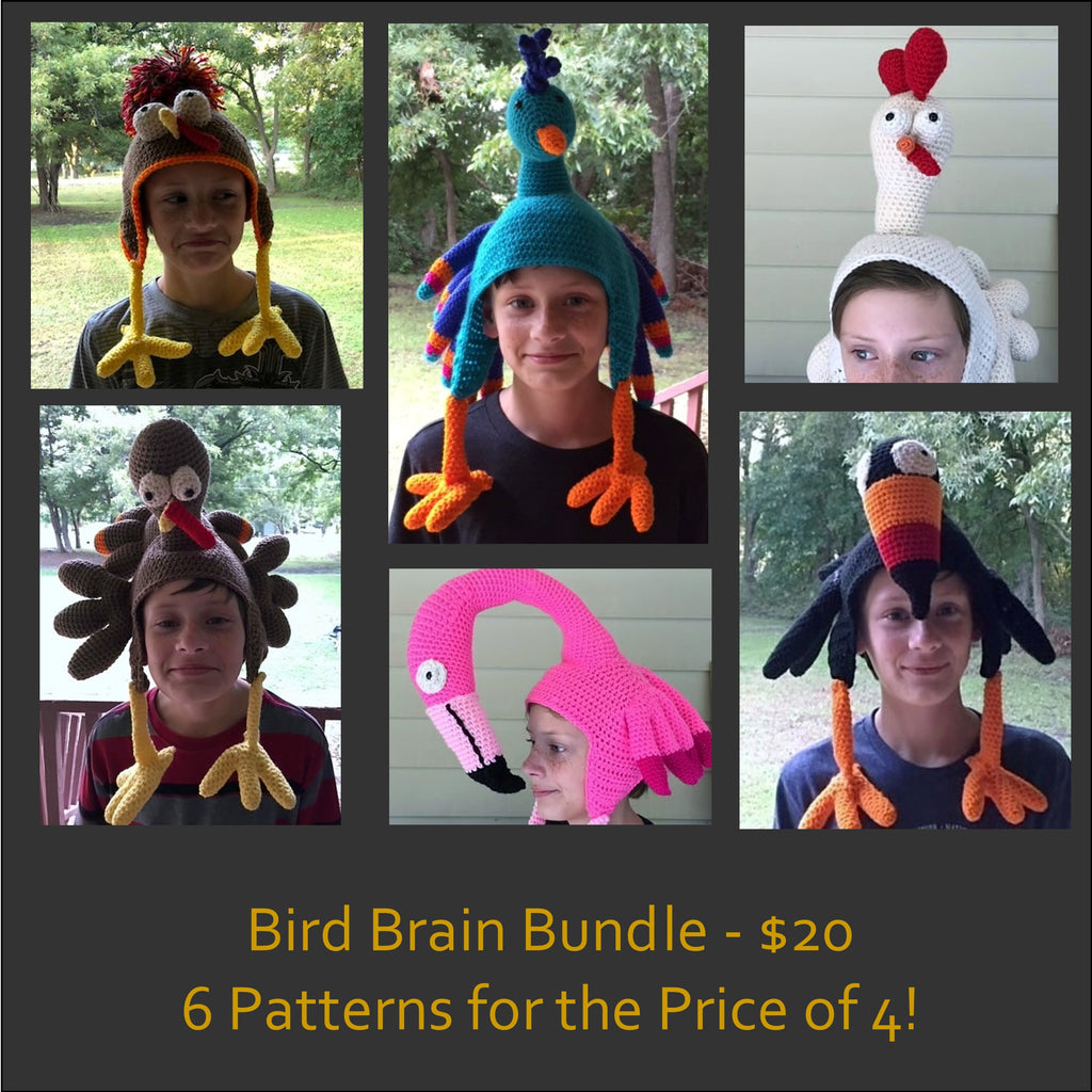 Bird Brain Crochet Hat Pattern Bundle by Sharpin Designs