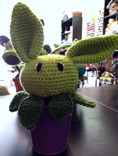 Plant Bunny crocheted by Sharpin Designs