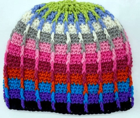 Color Dip Beanie crocheted by Sharpin Designs