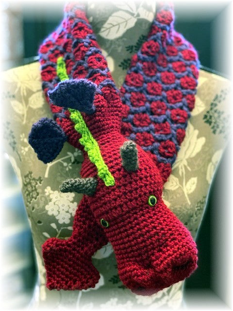 Dragon Scarf crocheted by Sharpin Designs