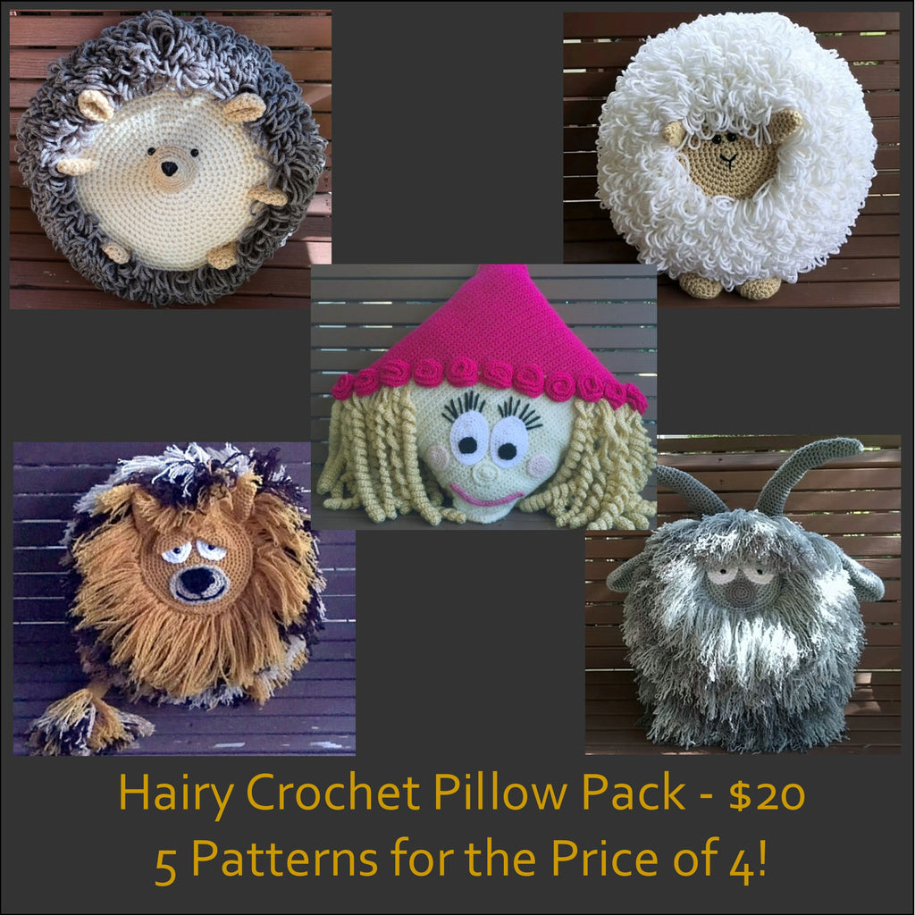 Hairy Pillows Crochet Pattern Bundle